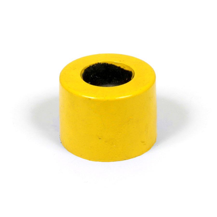 """Žlutá plastová koncovka pro silniční obrubníky """"samice"""" - délka 14,5 cm, šířka 14,5 cm a výška 10 cm"""
