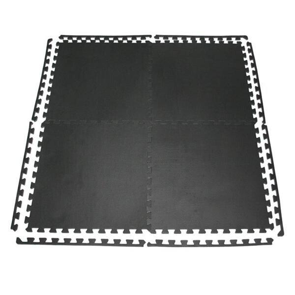 Černá fitness pěnová puzzle podložka - délka 122 cm, šířka 122 cm a výška 1 cm