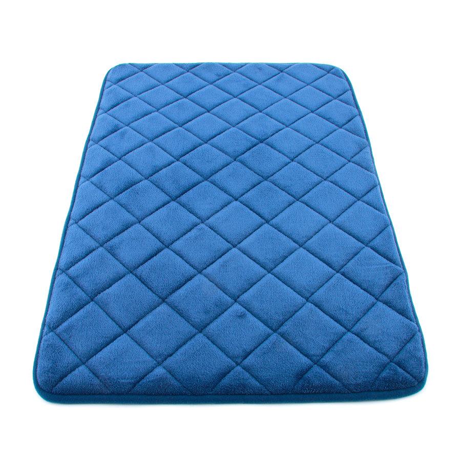 Modrá koupelnová pěnová předložka 01 - délka 80 cm a šířka 50 cm