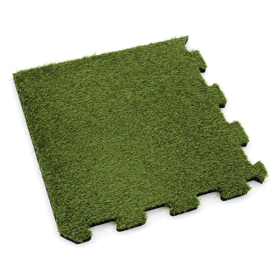 Gumová modulová puzzle dlažba (roh) s umělým trávníkem FLOMA SportFlo S800 - délka 95,6 cm, šířka 95,6 cm a výška 2,5 cm