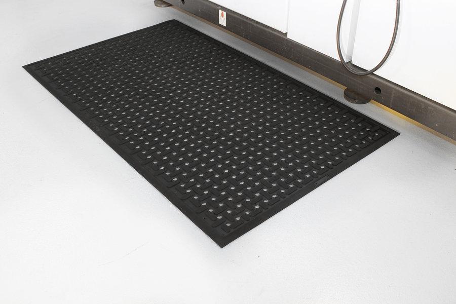 Černá gumová antibakteriální protiskluzová kuchyňská rohož (100% nitrilová pryž) - délka 150 cm, šířka 85 cm a výška 0,9 cm