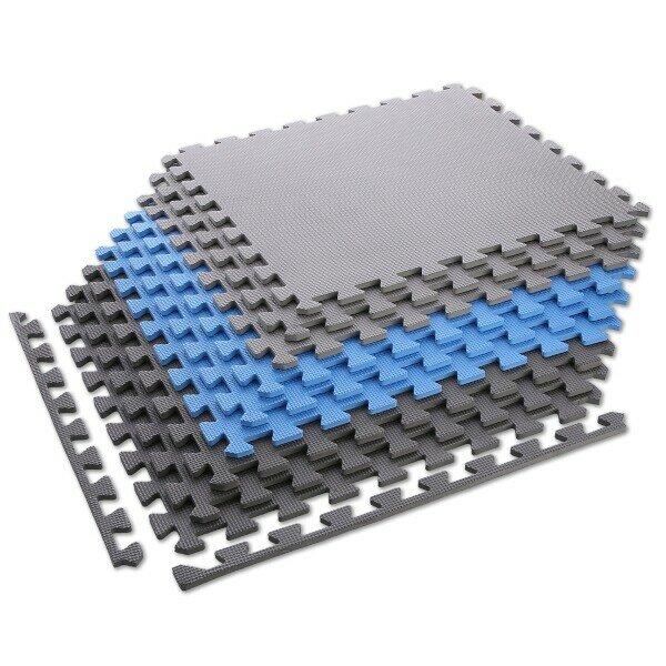Modro-šedá pěnová modulová puzzle podložka (9x puzzle) ONE FITNESS - délka 180 cm, šířka 180 cm a výška 1 cm