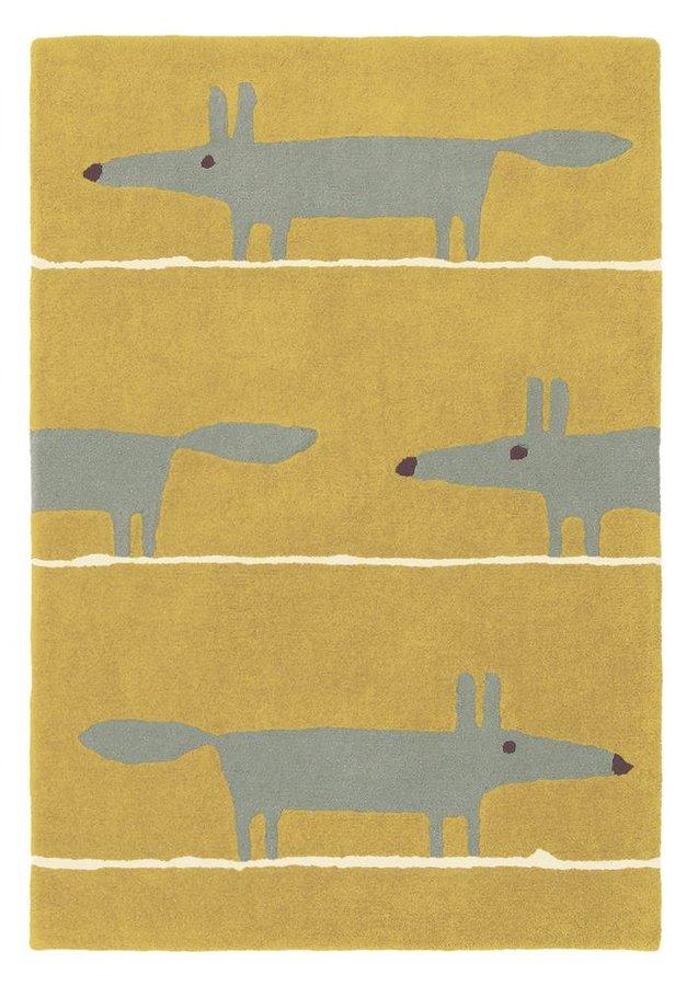 Žlutý kusový moderní koberec Mr. Fox