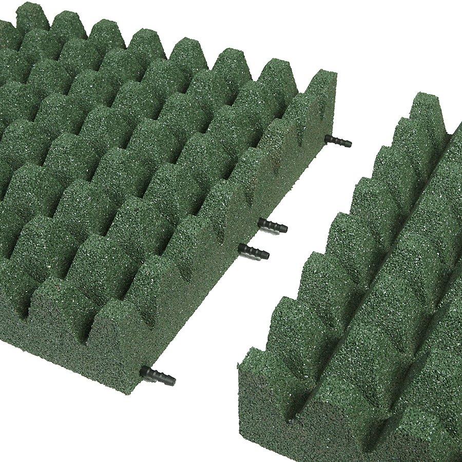 Zelená gumová dopadová dlaždice (V100/R50) FLOMA - délka 50 cm, šířka 50 cm a výška 10 cm