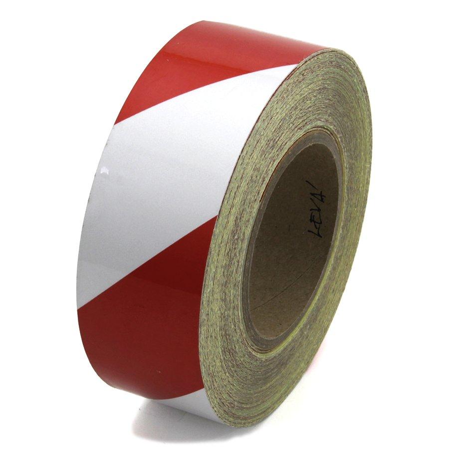 Bílo-červená levá reflexní výstražná páska - délka 45 m a šířka 5 cm