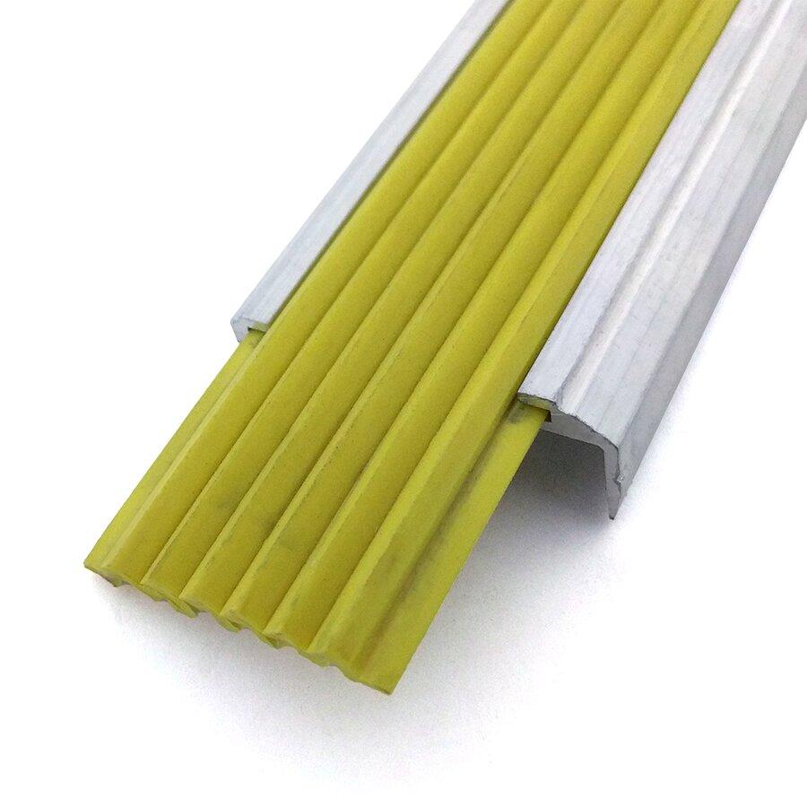 Žlutá gumová protiskluzová podlahová páska do schodových lišt a hran Antislip FLOMA - šířka 4 cm a výška 0,5 cm