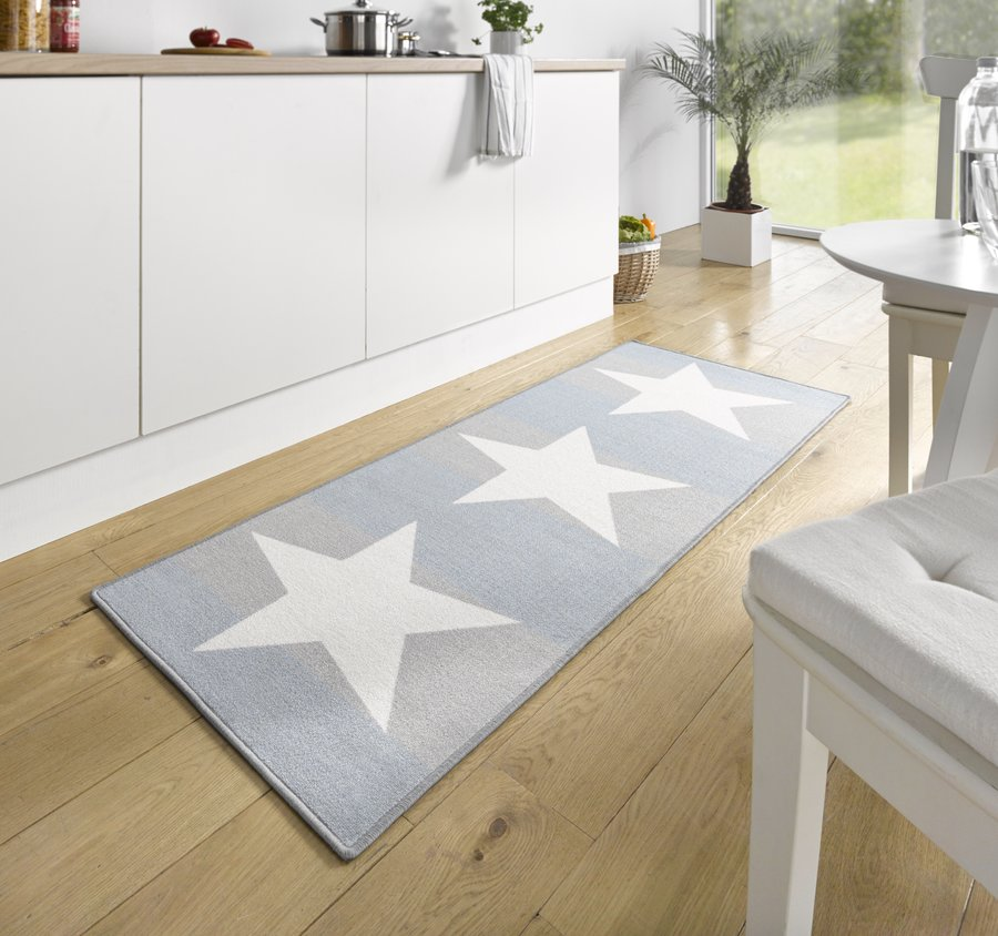 Modrý moderní kusový koberec Loop - délka 180 cm a šířka 67 cm