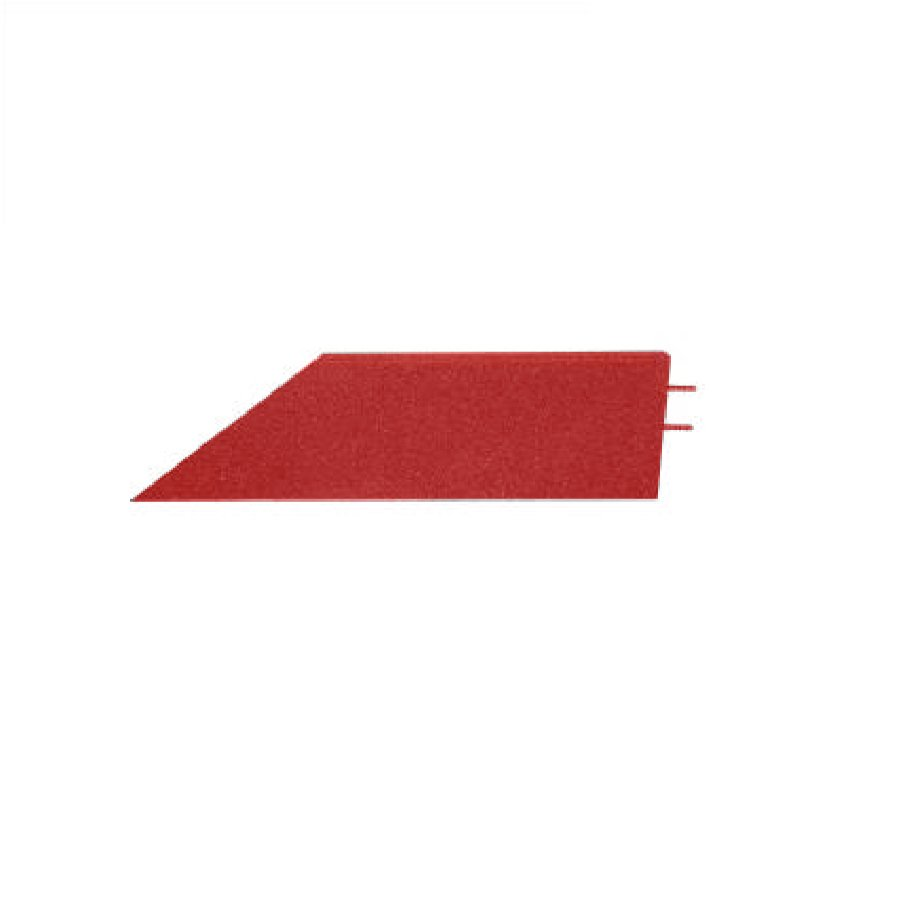 Červený pravý nájezd (roh) pro gumové dlaždice - délka 75 cm, šířka 30 cm a výška 4,5 cm