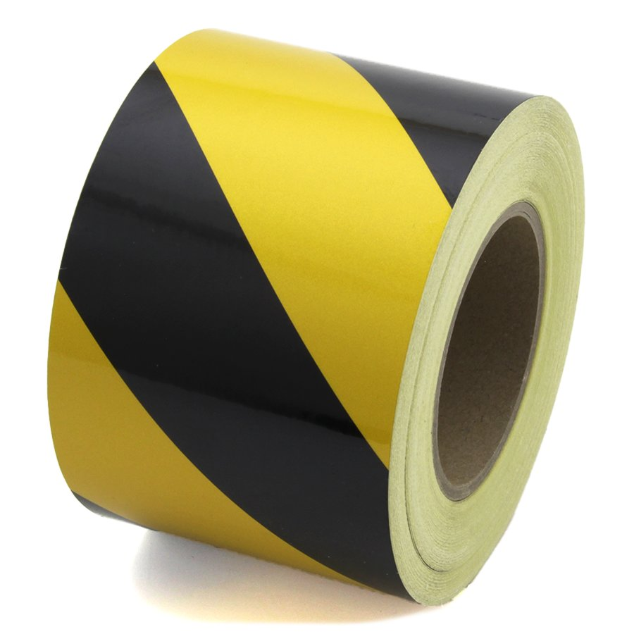 Černo-žlutá pravá reflexní výstražná páska - délka 45 m a šířka 10 cm