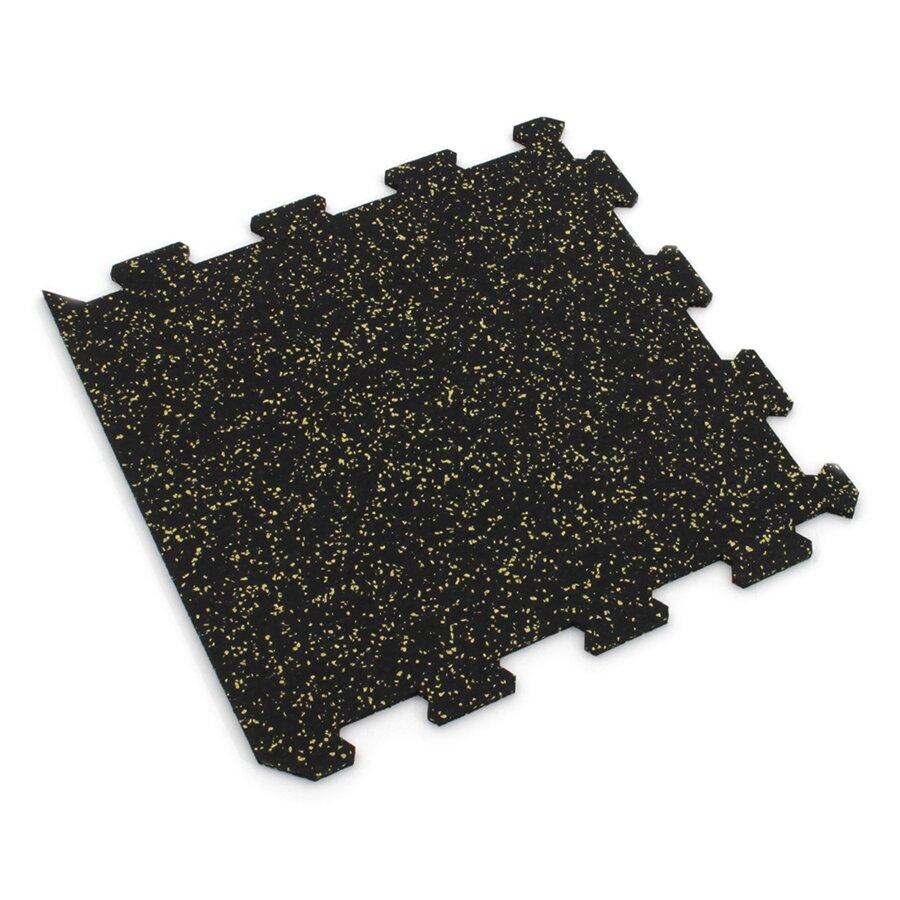 Černo-žlutá gumová modulová puzzle dlažba (okraj) FLOMA IceFlo SF1100 - délka 47,8 cm, šířka 47,8 cm a výška 0,8 cm