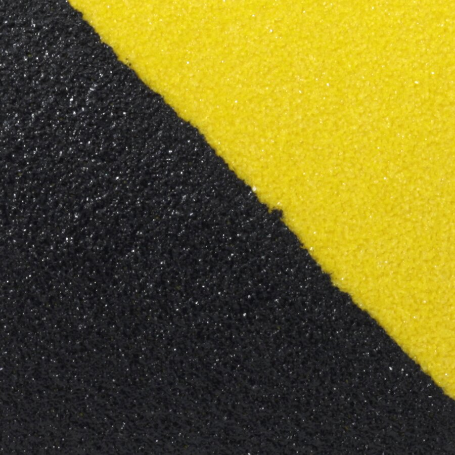 Černo-žlutá korundová protiskluzová páska FLOMA Hazard Standard - délka 18,3 m, šířka 5 cm a tloušťka 0,7 mm