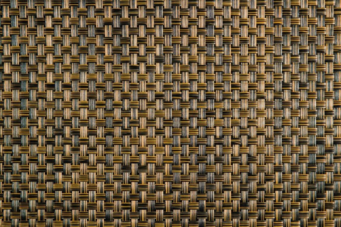 """Černo-hnědá plastová ratanová stínící rohož (metráž) """"umělý ratan"""" s oky"""