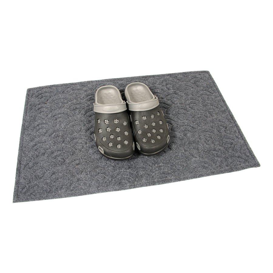 Antracitová textilní vstupní venkovní čistící rohož Circles, FLOMA - délka 45 cm, šířka 75 cm a výška 1 cm