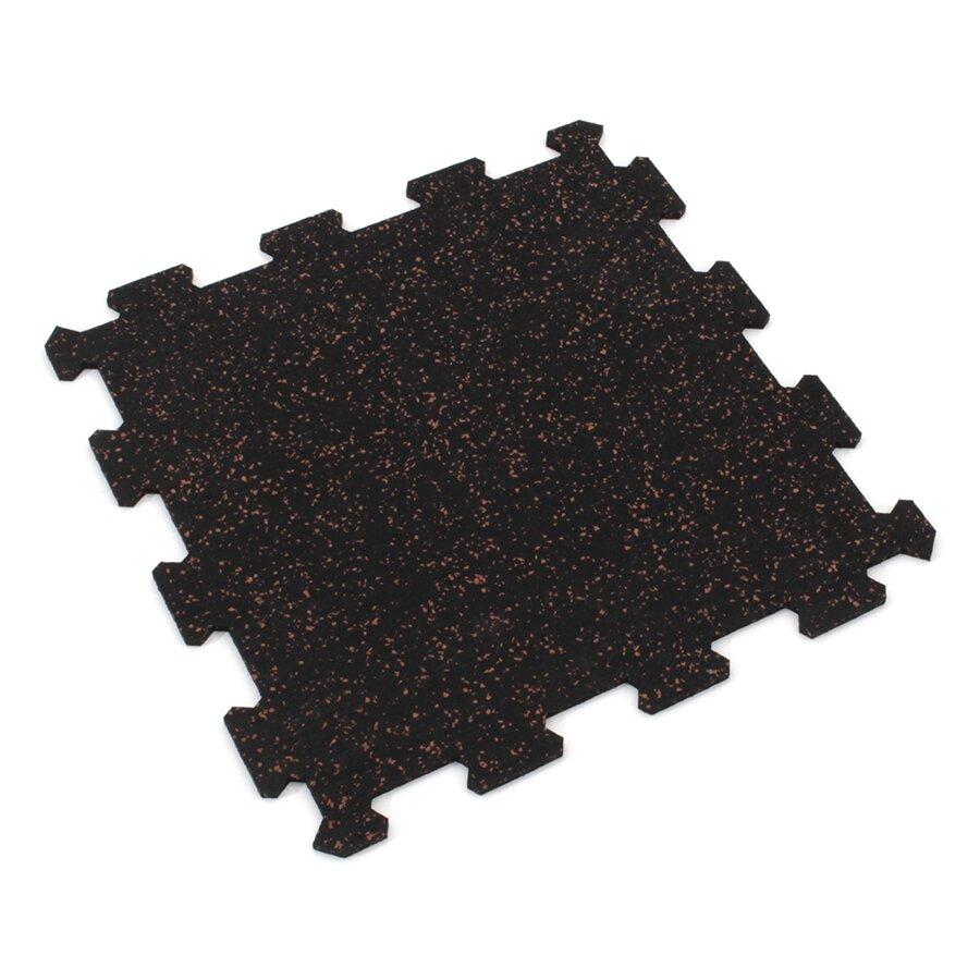 Černo-červená gumová puzzle modulová dlažba FLOMA SF1050 FitFlo - délka 47,8 cm, šířka 47,8 cm a výška 0,8 cm