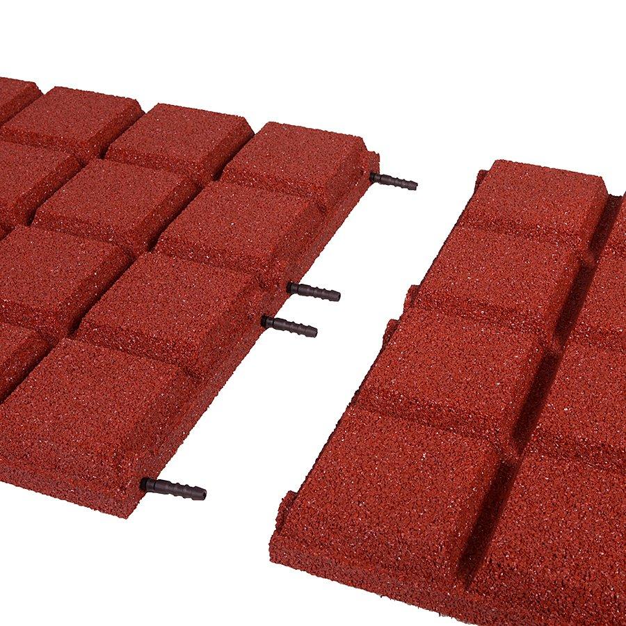 Červená gumová dopadová dlaždice (V50/R25BIG) FLOMA - délka 50 cm, šířka 50 cm a výška 5 cm