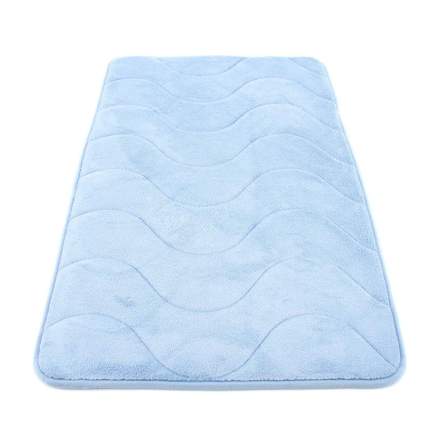 Modrá koupelnová pěnová předložka 02 - délka 80 cm a šířka 50 cm