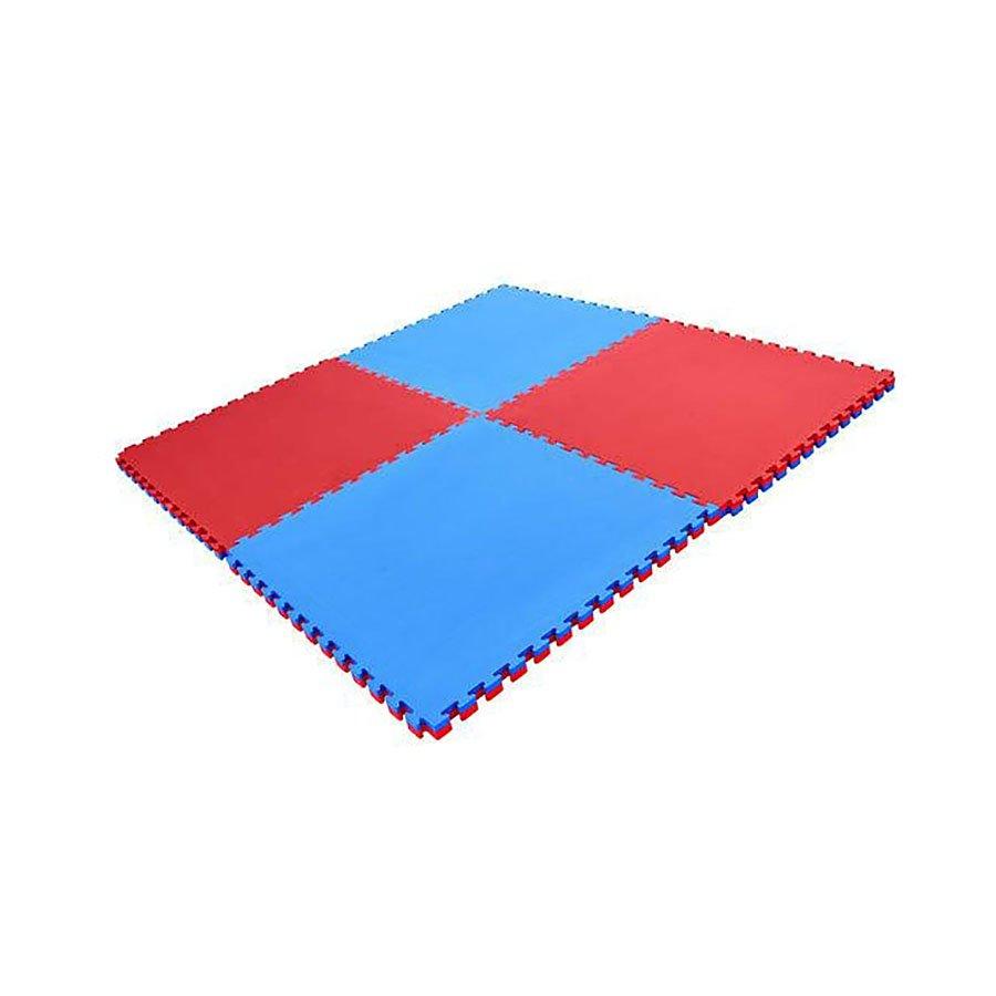 Červeno-modrá modulární pěnová oboustranná podložka - délka 100 cm, šířka 100 cm a výška 2,5 cm