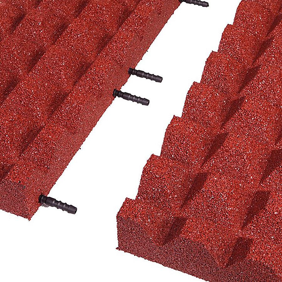 Červená gumová krajová dopadová dlaždice (V65/R28) FLOMA - délka 50 cm, šířka 25 cm a výška 6,5 cm