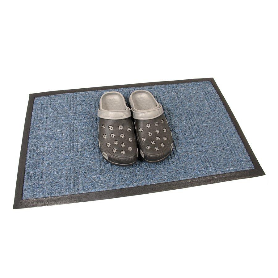 Modrá textilní vstupní venkovní čistící rohož Crossing, FLOMAT - délka 45 cm, šířka 75 cm a výška 0,8 cm