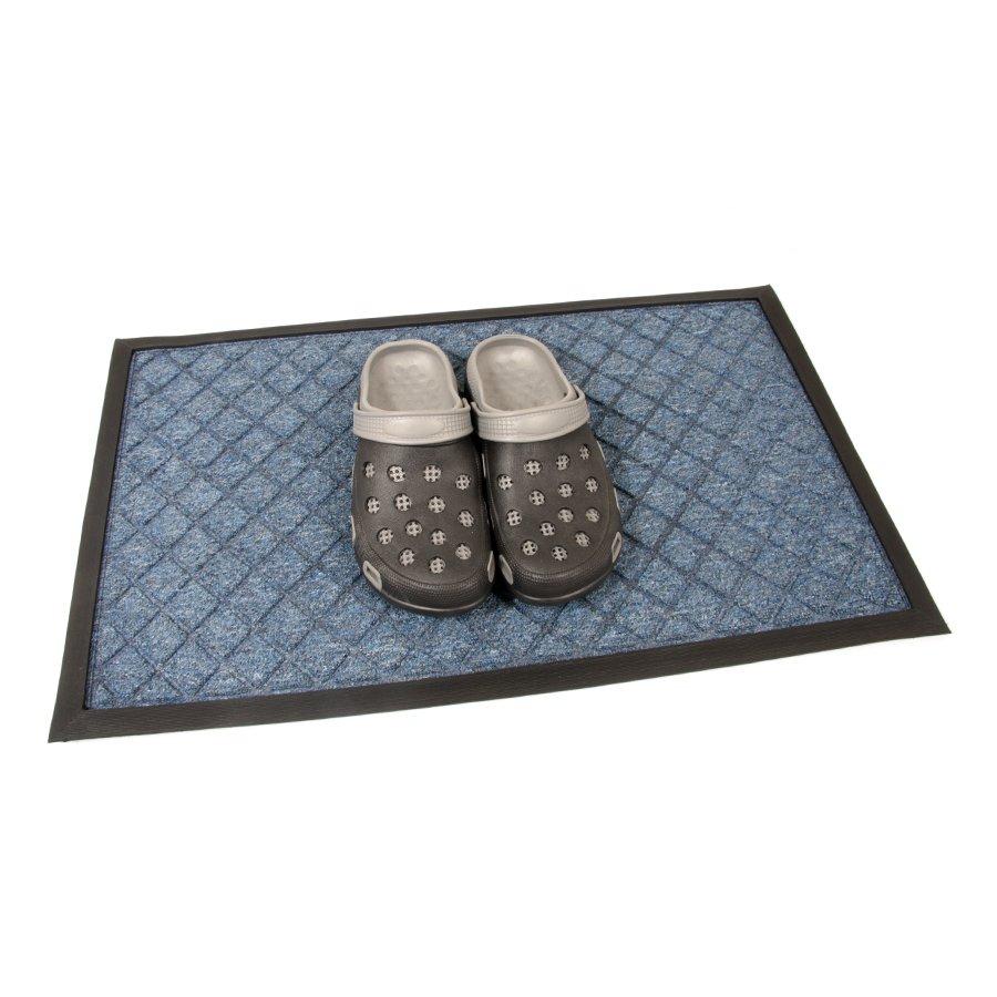 Modrá textilní vstupní venkovní čistící rohož Diamonds, FLOMA - délka 45 cm, šířka 75 cm a výška 1 cm