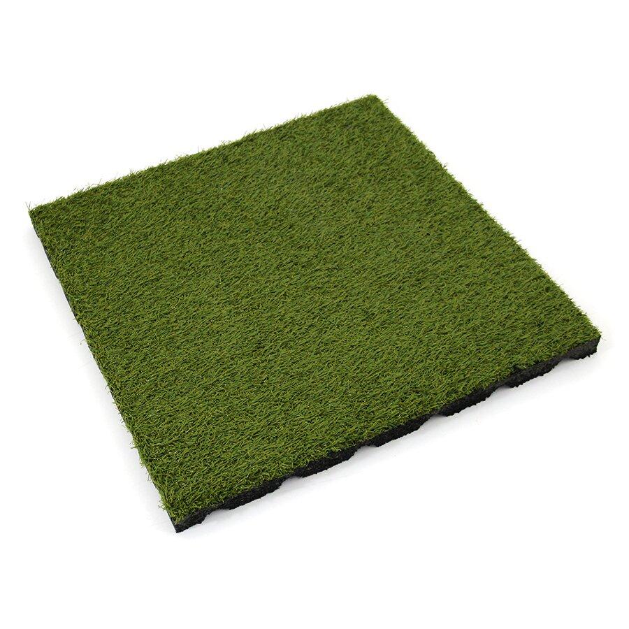 Gumová dlažba (V30/R15) s umělým trávníkem FLOMA SportFlo S800 - délka 50 cm, šířka 50 cm a výška 3 cm