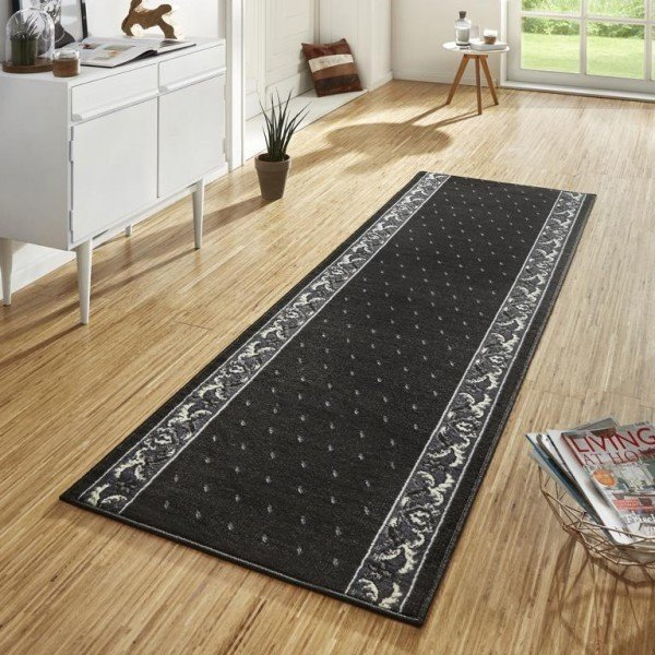 Černý kusový moderní koberec Basic - délka 500 cm a šířka 80 cm