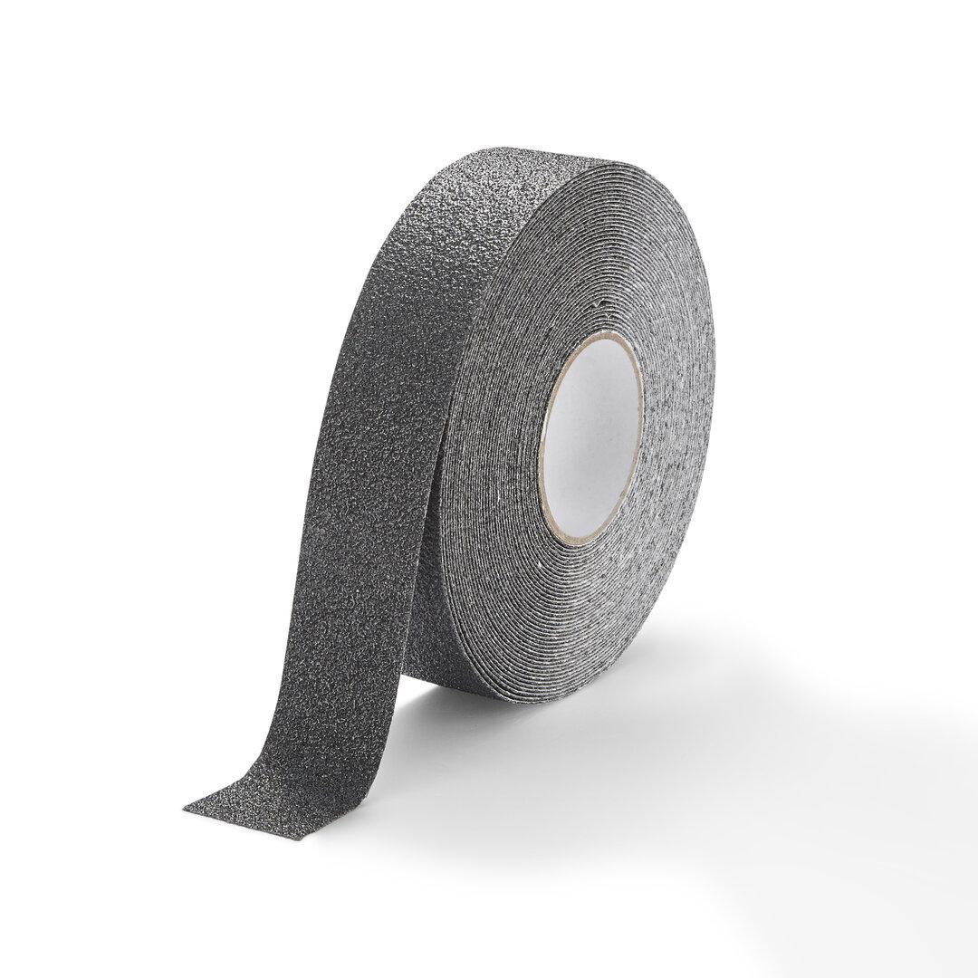 Černá korundová protiskluzová chemicky odolná podlahová páska FLOMA Extra Super - délka 18,3 m a šířka 5 cm