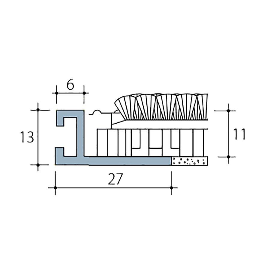 Hliníkový rám pro plastovou vstupní rohož Helix pro zapuštění do podlahy - šířka 2,7 cm a výška 1,3 cm