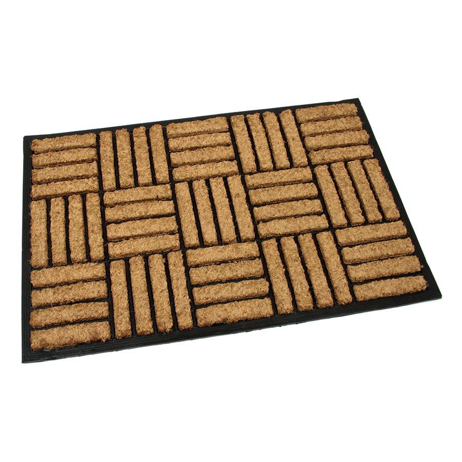 Kokosová vstupní venkovní čistící rohož Lines - Squares, FLOMAT - délka 60 cm, šířka 90 cm a výška 2,2 cm