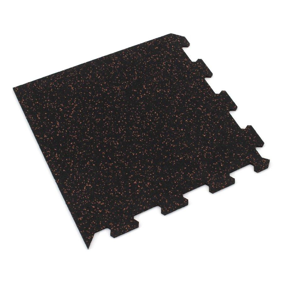 Černo-červená gumová modulová puzzle dlažba (roh) FLOMA IceFlo SF1100 - délka 47,8 cm, šířka 47,8 cm a výška 0,8 cm