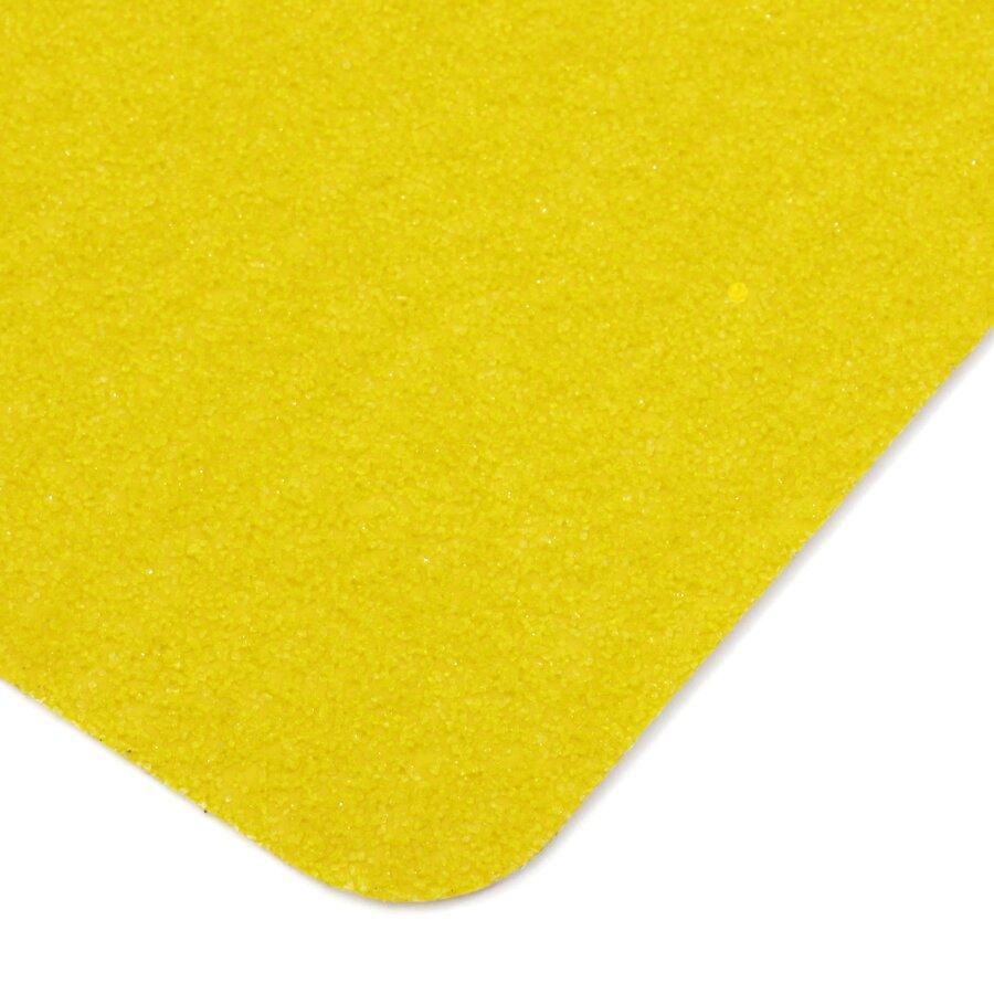 Žlutá korundová protiskluzová páska (dlaždice) FLOMA Super - délka 14 cm, šířka 14 cm a tloušťka 1 mm