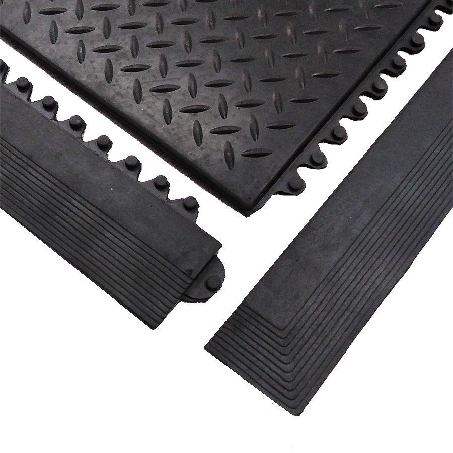"""Černá gumová náběhová hrana """"samec"""" pro rohož Diamond Plate Tile FLOMA - délka 98,5 cm a šířka 7,5 cm"""