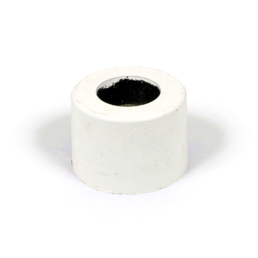 """Bílá plastová koncovka pro silniční obrubníky """"samice"""" - délka 14,5 cm, šířka 14,5 cm a výška 10 cm"""