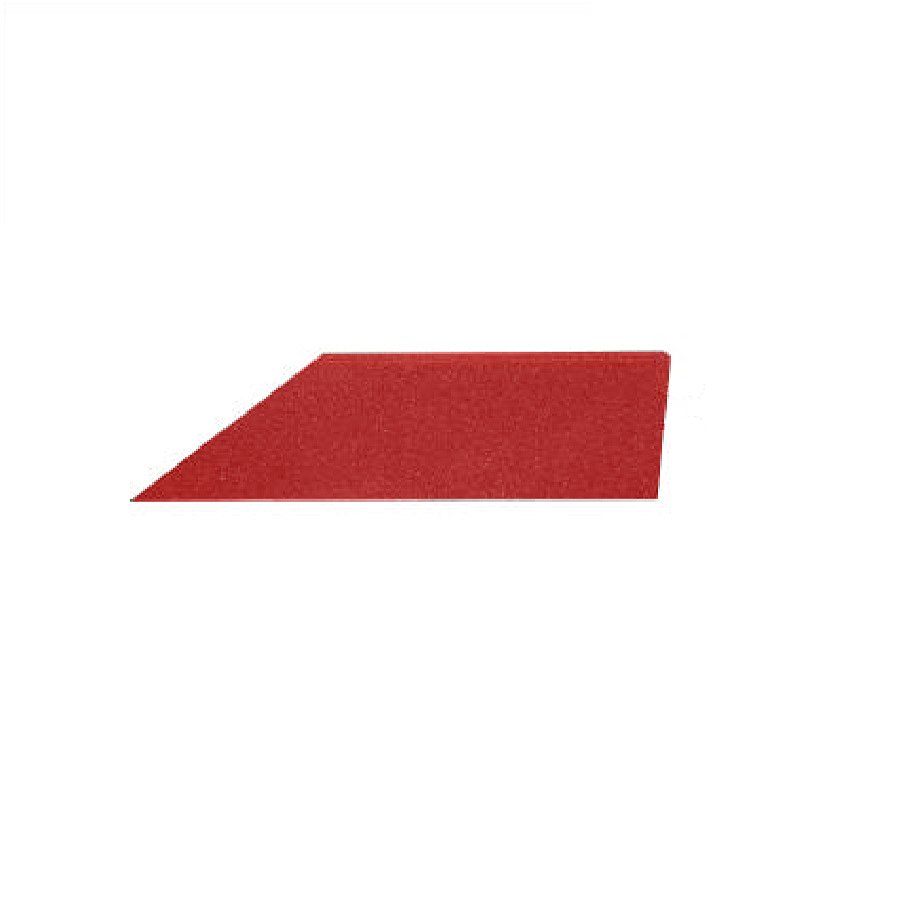 Červený pravý nájezd (roh) pro gumové dlaždice - délka 75 cm, šířka 30 cm a výška 2 cm
