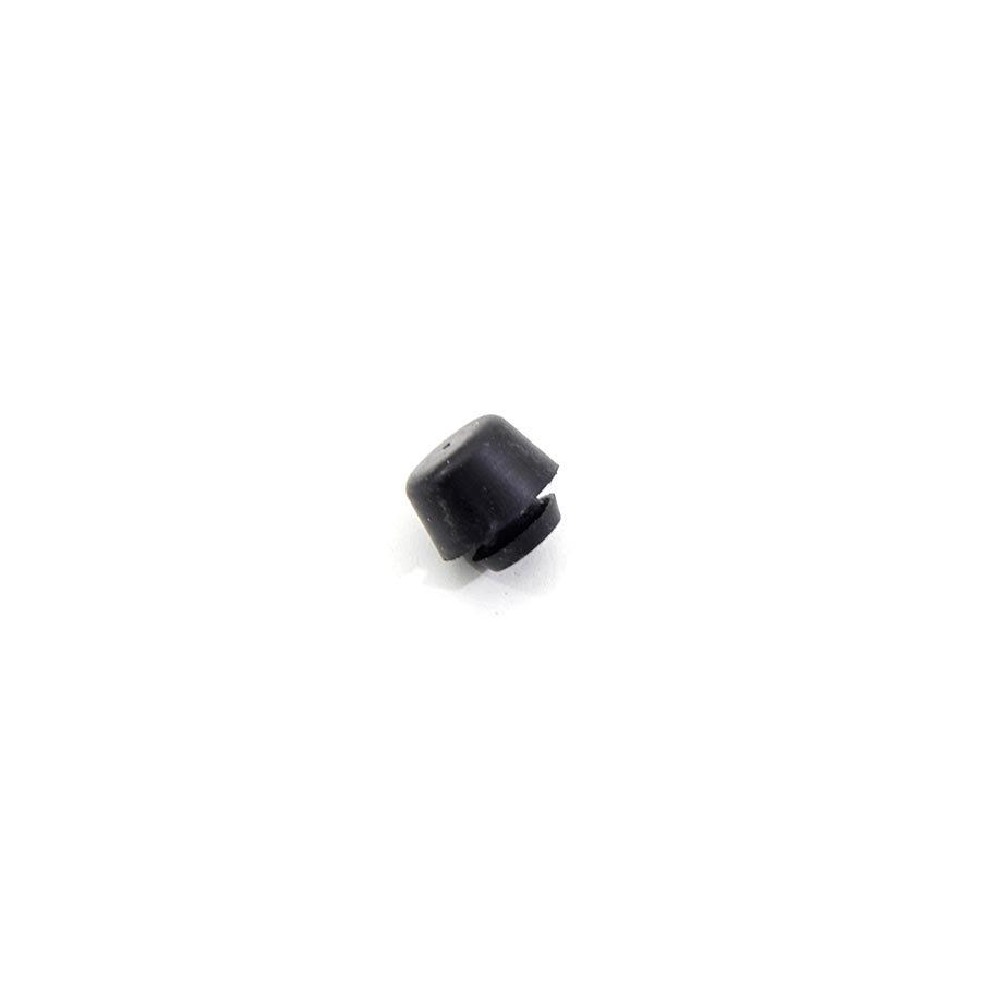 Černý pryžový doraz nástrčný do díry FLOXO - průměr 1,5 cm, výška 0,8 cm a výška krku 0,2 cm