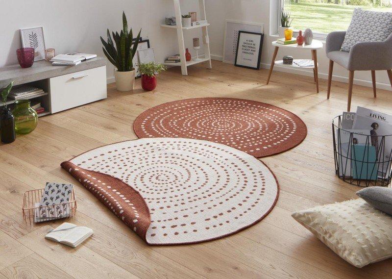 Hnědý moderní oboustranný kusový kulatý koberec Twin-Wendeteppiche - průměr 140 cm