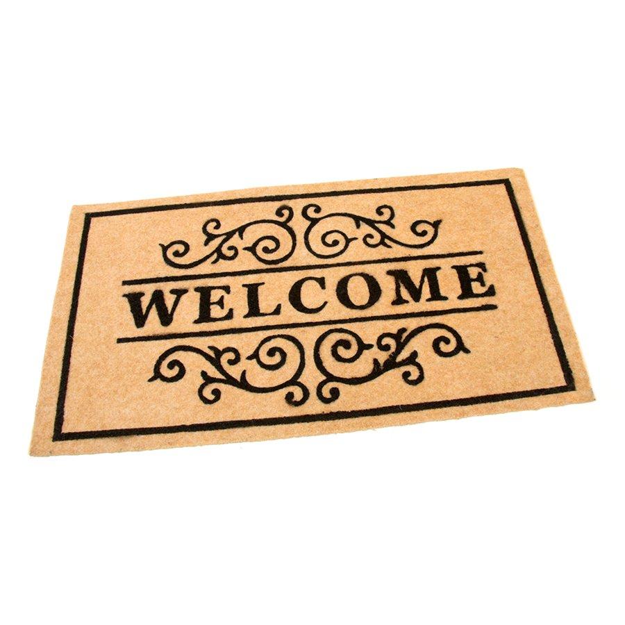 Béžová textilní vstupní čistící vnitřní rohož Welcome - Deco, FLOMA - délka 33 cm, šířka 58 cm a výška 0,3 cm