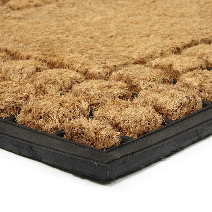 Kokosová čistící venkovní vstupní rohož Rectangle - Squares, FLOMA - délka 45 cm, šířka 75 cm a výška 2,2 cm