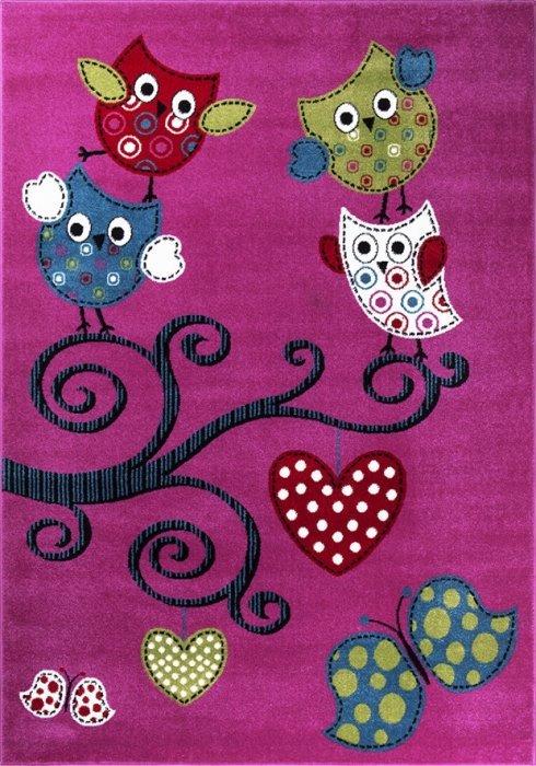 Růžový kusový dětský koberec - délka 150 cm a šířka 80 cm