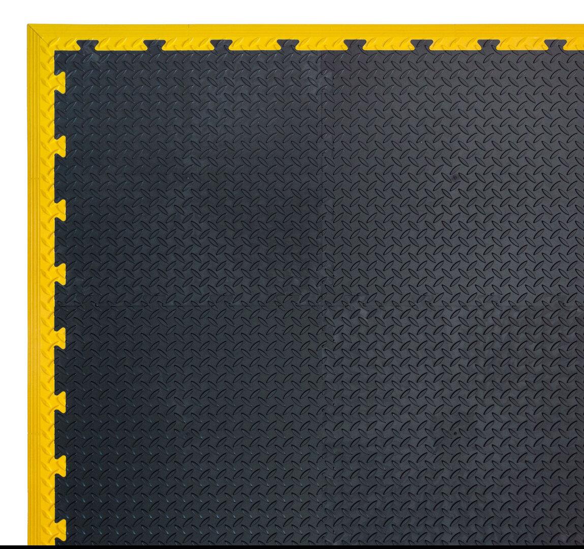 Černá PVC vinylová zátěžová puzzle protiskluzová dlaždice Tenax - délka 50 cm, šířka 50 cm a výška 0,8 cm