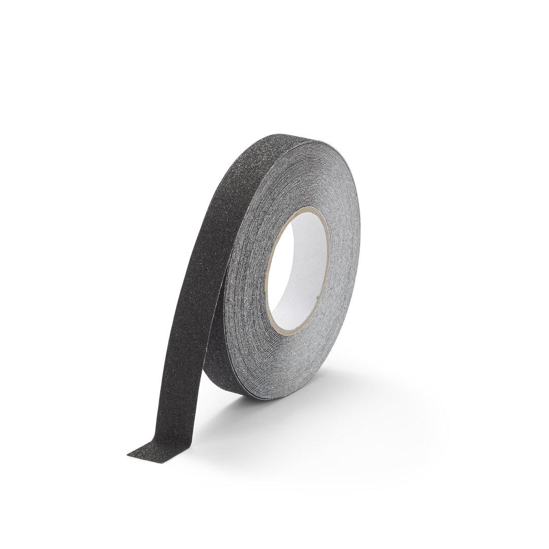 Černá korundová protiskluzová snímatelná podlahová páska FLOMA - délka 18,3 m a šířka 2,5 cm