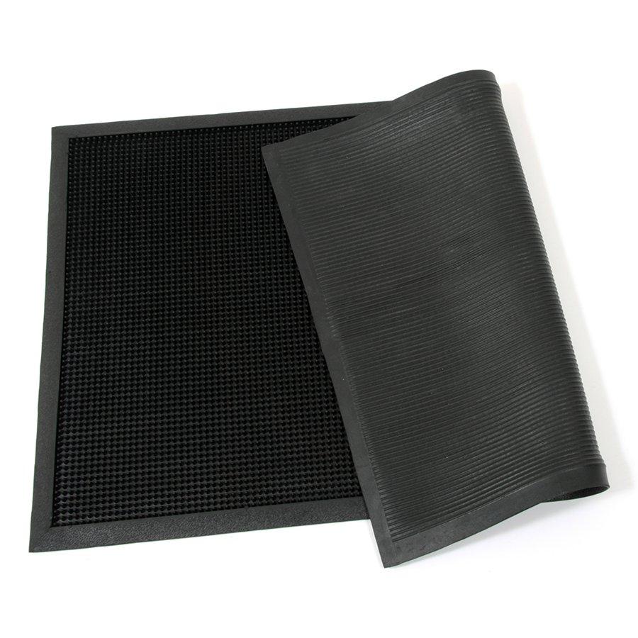 Gumová čistící venkovní vstupní rohož Rubber Brush, FLOMA - délka 60 cm, šířka 100 cm a výška 1,2 cm