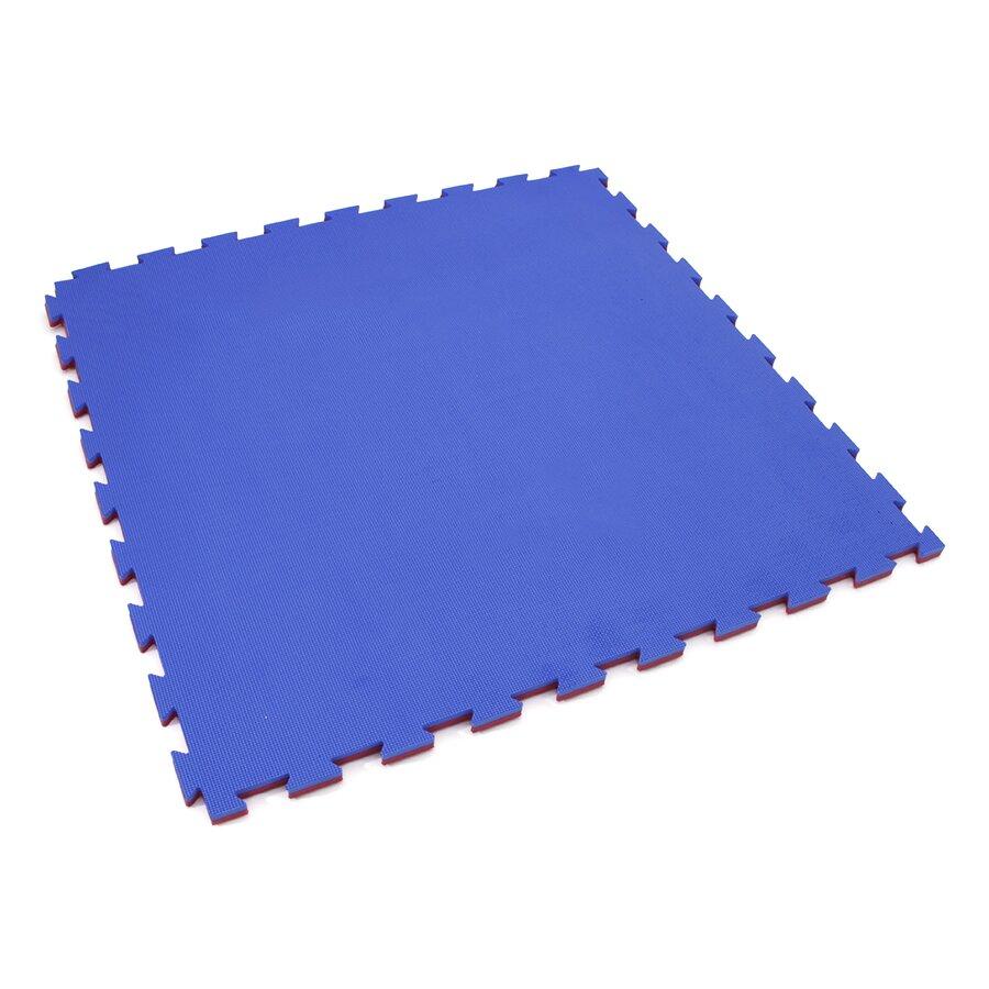 Červeno-modré oboustranné puzzle modulové tatami SPARTAN SPORT - délka 100 cm, šířka 100 cm a výška 2 cm