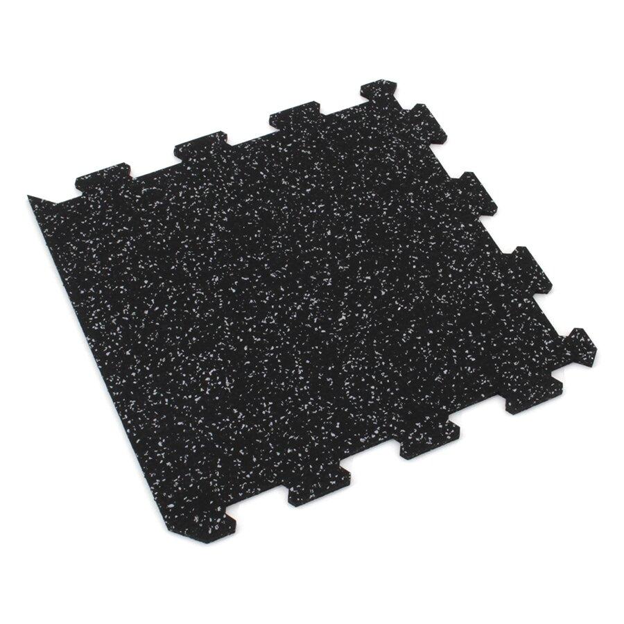 Černo-šedá gumová modulová puzzle dlažba (okraj) FLOMA FitFlo SF1050 - délka 95,6 cm, šířka 95,6 cm a výška 1,6 cm
