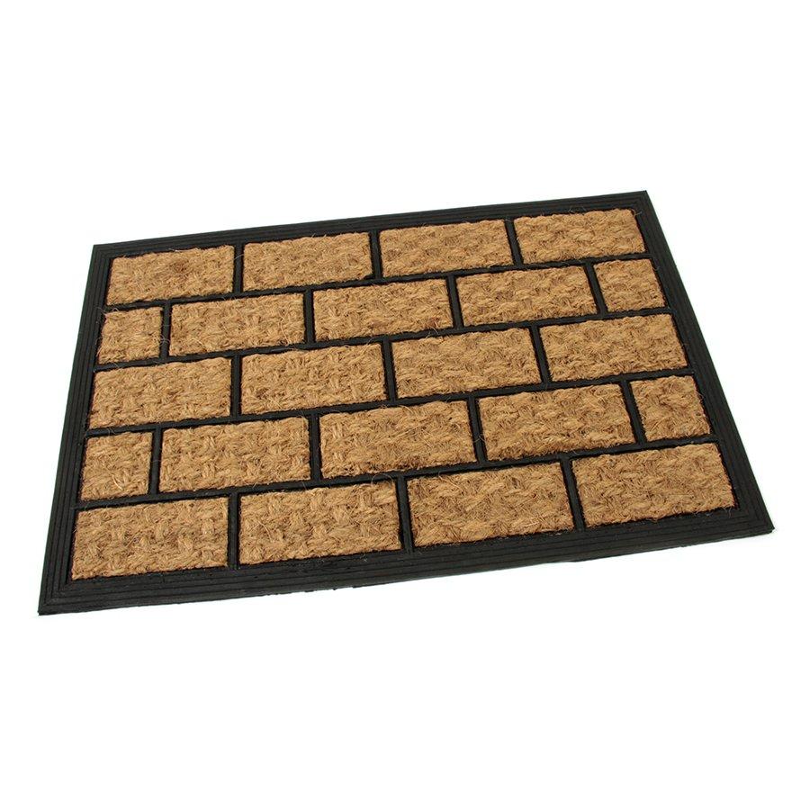 Kokosová čistící venkovní vstupní rohož Rectangle - Bricks, FLOMA - délka 40 cm, šířka 60 cm a výška 0,8 cm