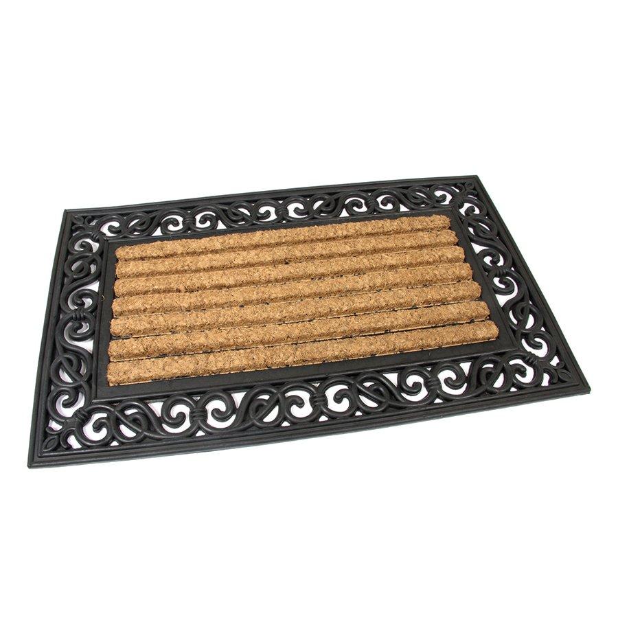 Kokosová čistící venkovní vstupní rohož Stripes - Deco, FLOMAT - délka 45 cm, šířka 75 cm a výška 2,1 cm