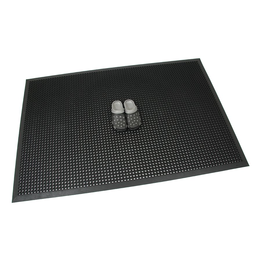 Černá gumová venkovní rohož s obvodovou hranou Octomat Mini - délka 120 cm, šířka 180 cm a výška 1,25 cm