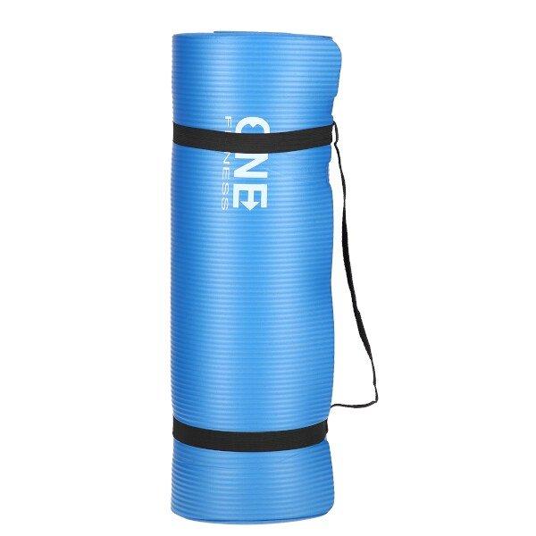 Modrá podložka na jógu ONE FITNESS - délka 183 cm, šířka 61 cm a výška 1,5 cm