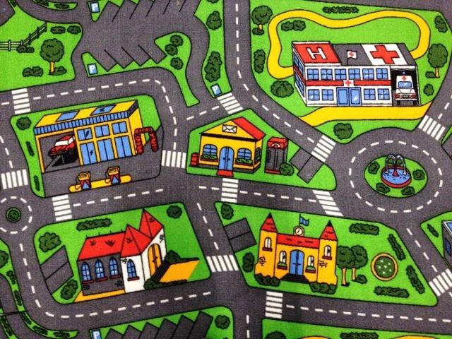 Různobarevný dětský metrážový hrací koberec Město - šířka 400 cm