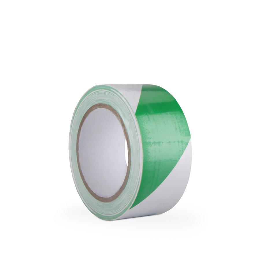 Bílo-zelená vyznačovací samolepící podlahová páska - délka 33 m a šířka 5 cm